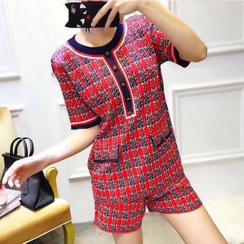"""Chanel"" Women Temperament Fashion Multicolor Tartan Short Sleeve Tops Shorts Set Two-Piece"