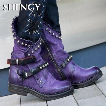 2019 Women Mid-Calf Boots Autumn Winter Round Toe Vintage PU Leather Ladies Shoes Low Heel Rivet Cool Motorcycle Boots Plus Size