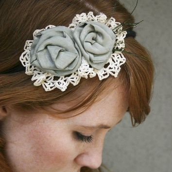 Flower headband with vintage lace and sage roses headbands for women