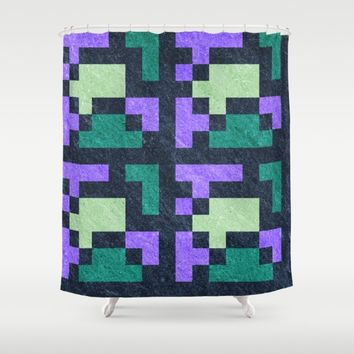 Violet Green Blocks Pixel Pattern Shower Curtain by Likelikes | Society6