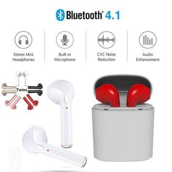 HBQ i7 TWS Wireless Headset Bluetooth In-Ear Invisible Earbud with Portable Charging Case For iPhone X 8 8 Plus Samsung S8 S8 Pl