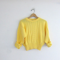 Vintage birght yellow sweater. cotton knit cropped sweater. cable knit pullover.