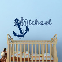 Nautical Name Wall Decal Anchor Decals Personalized Initial Name Monogram Nursery Kids Boys Teens Room Playroom Children Home Decor M060
