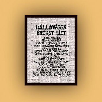 Printable Halloween quote black and white newspaper art gift digital illustrated wall art poster gothic vintage print bucket list fall to do