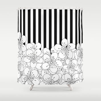 Cherry Blossom Stripes - In Memory of Mackenzie Shower Curtain by Project M