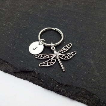Initial Dragonfly Keyring, Hand Stamped Keyring, Dragonfly Keyring, Charm Keyring, Dragonfly Keychain, Personalised Keyring, Dragonfly Gift