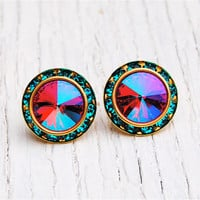 Rainbow Fuchsia Teal Rhinestone Stud Earrings Swarovski Crystal Hot Pink Rhinestone Post Earrings Preppy Earrings Sugar Sparklers Mashugana