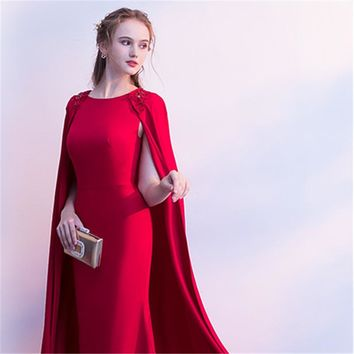 Red O-Neck Full Cap Sleeve Cape Zipper Dinner Party Formal Dress A-line Floor Length Evening Dress