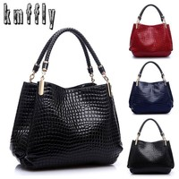 Women Crocodile Embossed Patent Leather Hand Bag