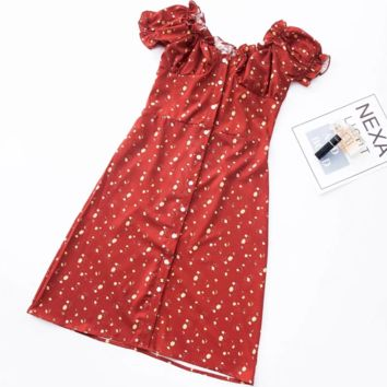 FREE SHIPPING  A vintage summer mini floral dress with bubble-cuffed front lace and short sleeves
