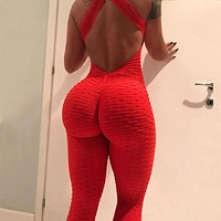 2018 New Style Women Sporting Jacquard Weave Jumpsuits Fitness Knitted Sexy Elastic bodysuit Push Up Playsuit Slim Feme Jumpsuit