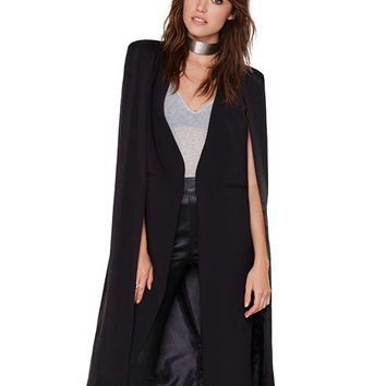Open Front Asymmetric Cape Coat