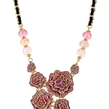 BetseyJohnson.com - IMPERIAL ROSE CLUSTER NECKLACE PINK