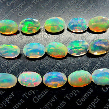5x7mm ethiopian opal faceted oval - Awesome Strong Flashy multi fire welo opal AAA quality natural loose gemstone - faceted opals - FOR ONE