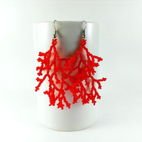 Red coral earrings Coral wedding earrings Red jewelry Red wedding jewelry Coral beadwork Beaded earrings Coraling earrings Coral earings