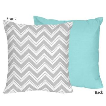 Sweet Jojo Designs Zig Zag Throw Pillow in Grey/Turquoise