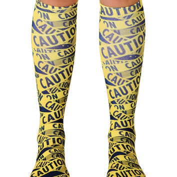 Caution Knee High Socks