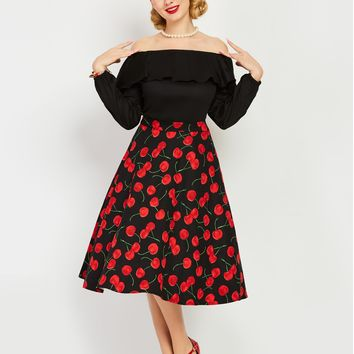 Chicloth Balck Cherry Print Off the Shoulder A_Line Vintage Dress