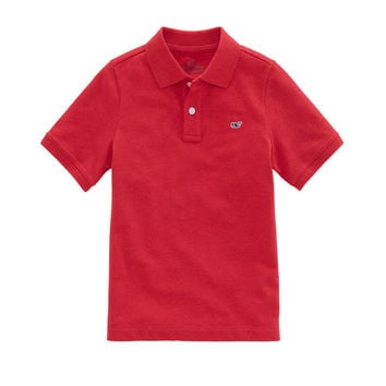 Boys Short-Sleeve Classic Heathered Pique Polo
