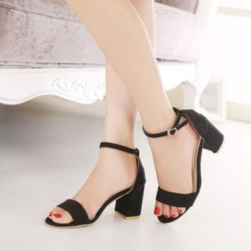 2015 Summer High Heel Sandals Fashion Rome Word-type buckle Thick with Shoes Anti-slip Women Open toe Square heel shoes = 1753645316