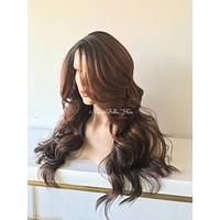 Balayage Ombre' Auburn Curls Multi Parting lace front wig 22'