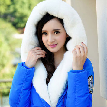 Winter New Jacket Women Large Fur Collar Down Wadded Jackets Female Hooded Parkas Fashion Coat Casual Feminine Coat C1016