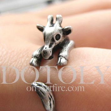 Miniature Baby Giraffe Ring in Silver Sizes 5 to 9 available | dotoly - Jewelry on ArtFire