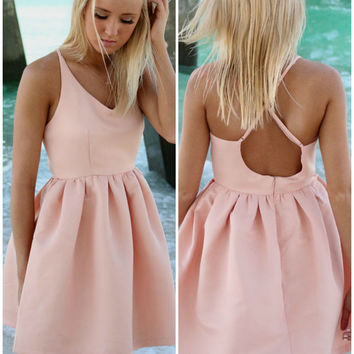 Feeling Flirty Pink Babydoll Criss Cross Back Party Dress