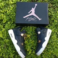 [ FREE SHIPPING ] AIR JORDAN 4 (PREMIUM NAVY LEATHER) SNEAKER  819139-402
