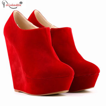 Women Autumn Elegent Platform High Heels Flock Shoes Ladies Ankle Boots Wedges Pumps Botas Plus Size Size 35-42 SMYNLK-B0038