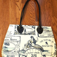 Tommy Bahama Mermaid Handbag Navy Blue Ivory Large Bag Mermaid's Call