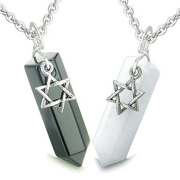 Amulets Love Couples Best Friends King of Solomon Star of David Crystal Points Jade Onyx Necklaces
