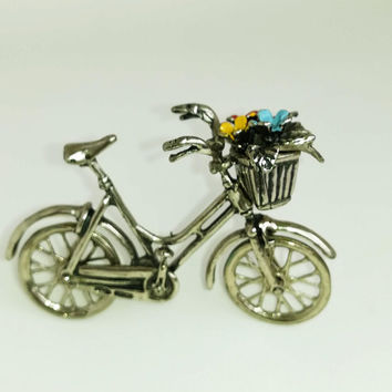 Vintage Solid Silver Italian Made Bicycle Miniature, Figurine, Stamp.20g/0.7-oz. Flowers in basket. Cyclist gift