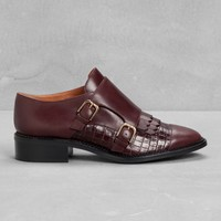 & Other Stories | Monk Strap Leather Flats | Dark Red