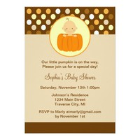 "Little Pumpkin Baby Shower Invitation 5"" X 7"" Invitation Card"