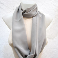 infinity scarf Loop scarf Neckwarmer Necklace scarf Fabric scarf  Grey  Chiffon scarf