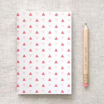 Mini Journal & Pencil Set - Tiny Triangles Pattern in Coral, Navy Blue OR Mint Green