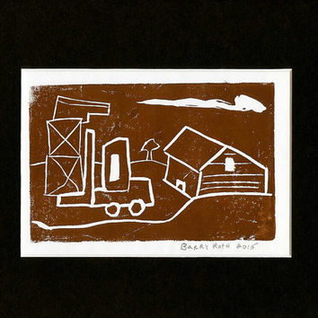 "Original Art Block Print ""Work Time"" brown Handcrafted by Detroit Artist Collectible One of a kind urban landscape"