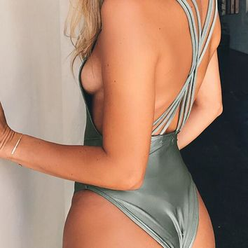 Three Shoulder Strap Cross Back Monokini