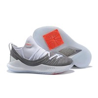 Under Armour Stephen Curry 5 SC White Gray Orange Basketball Shoes Sneakers - Best Deal Online