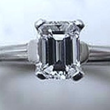 1.18ct Emerald Cut Diamond Engagement Ring GIA certified JEWELFORME BLUE