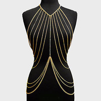 My Gold Body Jewelry Metal Accessory Womens Trendy Fashion Chain