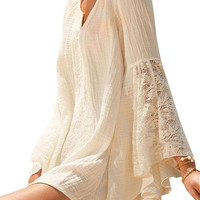 Beige Belled Long Sleeve Lace Dress