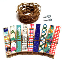 Photo Clothesline Kit Nature Floral Boho Chic Music Notes Chevron Travel Flowers Rustic Wall Hanging Dorm Decor Clothespins Twine and Screws