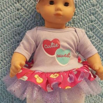DCCK1IN baby doll clothes to fit bitty baby valentine conversation hearts 15 inch will fi