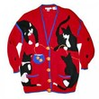 Vintage 80s/90s Kitties & Goldfish Tacky Ugly Cat Lady Sweater/Cardigan Women's Size Large/XL (L/XL)