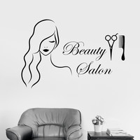 Vinyl Wall Decal Beauty Salon Barbershop Hairdresser Stickers Unique Gift (1027ig)