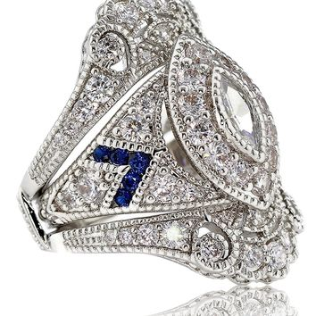 Created Sapphire Marquise Two Piece Antique Vintage Victorian Style Estate  Art Deco Bridal Engagement Wedding Ring