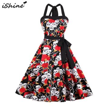 Summer rose skull head printed halter retro rockabilly dress elegant women 50 60s backless