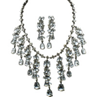 SCAASI Vintage Bridal Crystal Rhinestone Necklace and Dangle Earrings SET